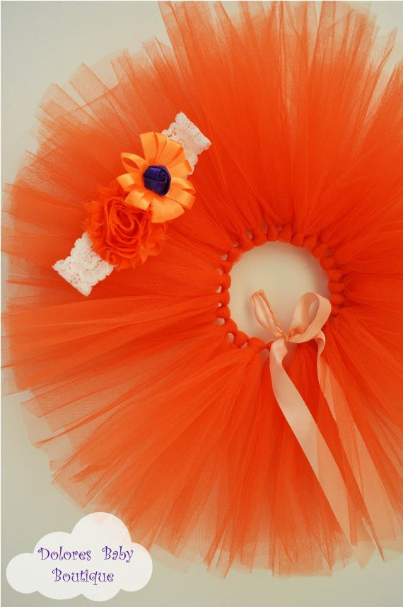 Baby Orange Tutu Baby Orange Headband Baby by DoloresBabyBoutique