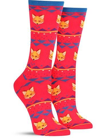 Awesome Novelty Fox Fair Isle Socks for Women, in black