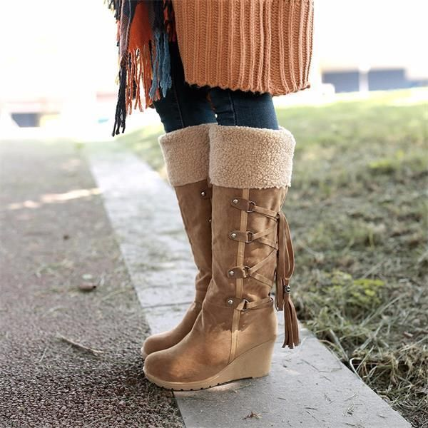 Beige Winter Knee Length Boots With Decorations | Upp till
