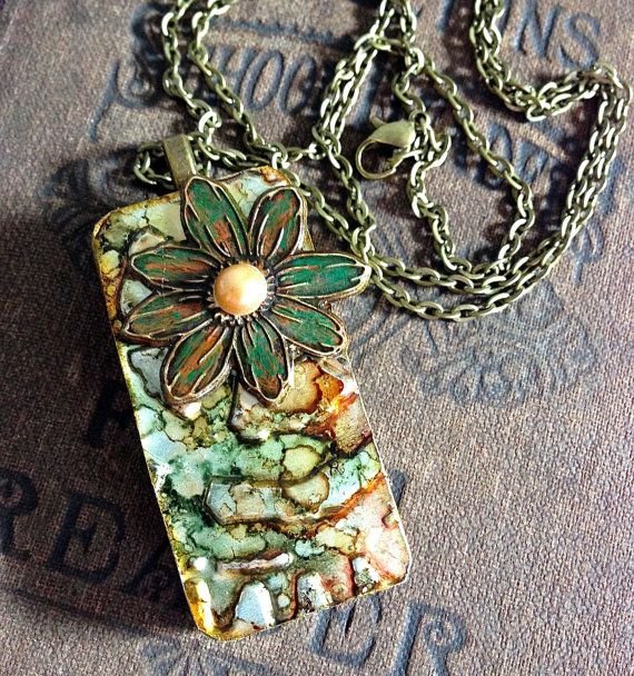 Altered Alcohol Ink Embossed Metal Domino Necklace by CraftyColettes, on Etsy