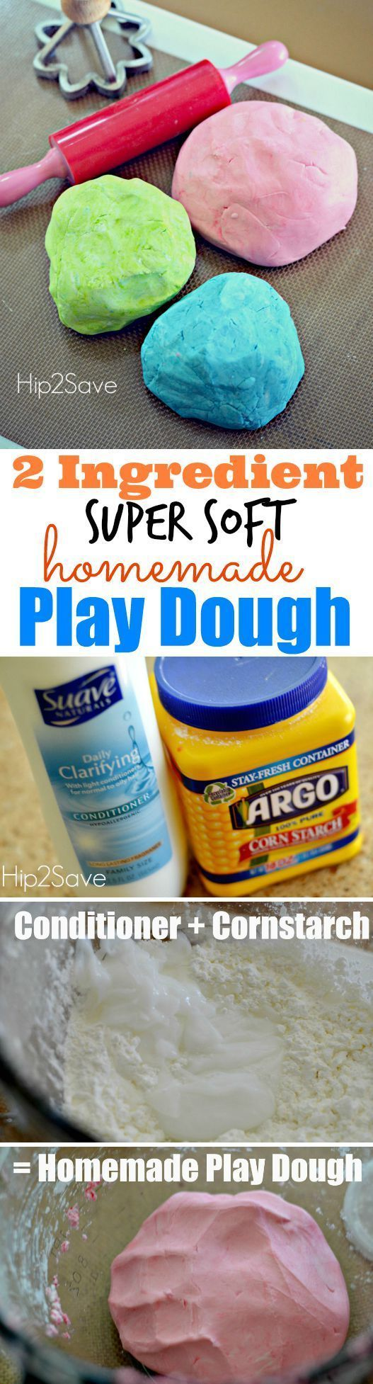 Homemade 2 Ingredient Play Dough