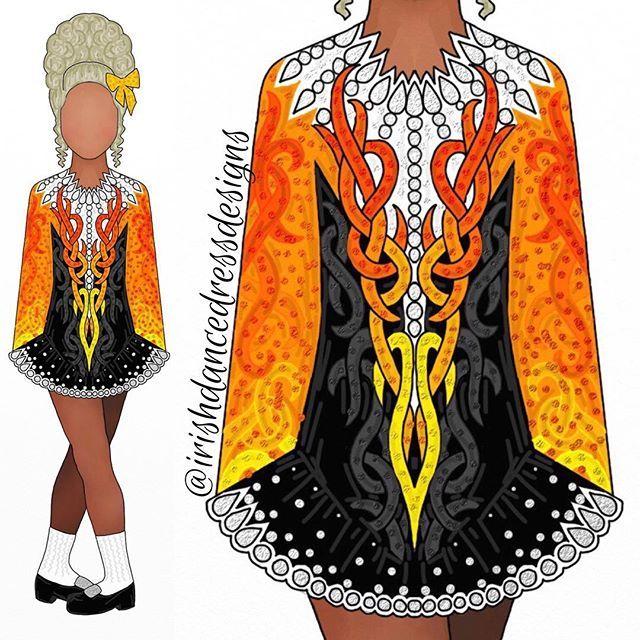 Design 806 Orange And Yellow With Black And White For Frannie Ryan Irishdancedr Irish Dance Dress Designs Irish Dancing Dresses Irish Dance Solo Dress