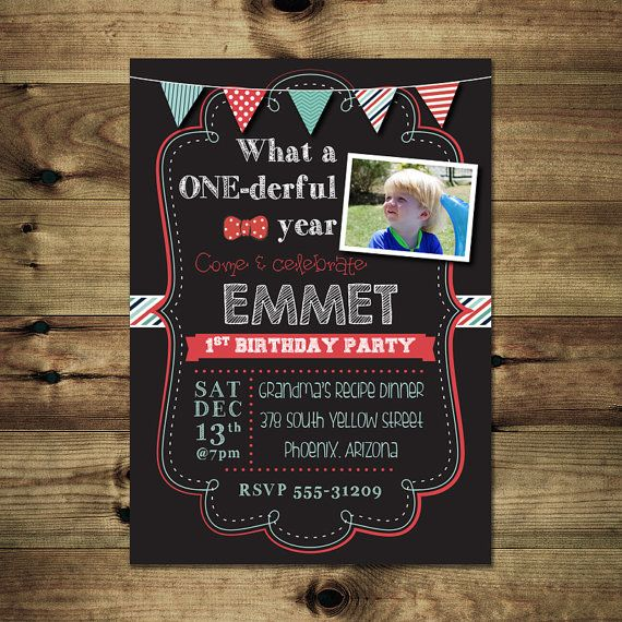 Bow Tie Chalkboard Birthday Invitation by PapierMignonID on Etsy