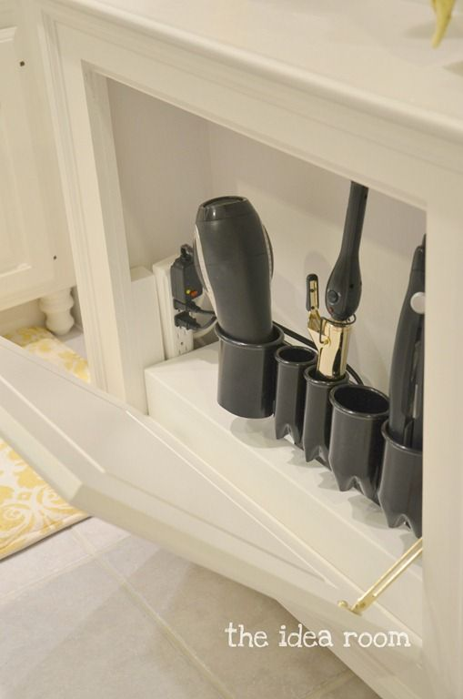 no room now, but this would be super duper handy! DIY Hair Tool Storage Cabinet