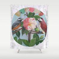 Shower Curtain at Society 6 -Love Birds by Daniela Glassop • DGD Creative