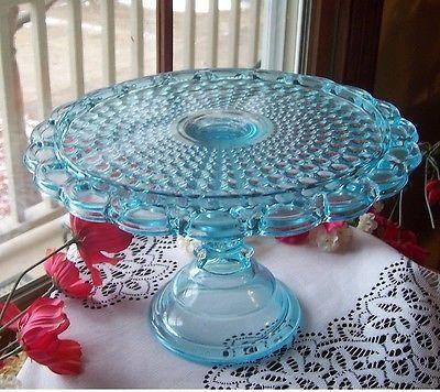 EAPG ANTIQUE GLASS PEDESTAL CAKE STAND PLATE . ADAMS THOUSAND EYE . BLUE!