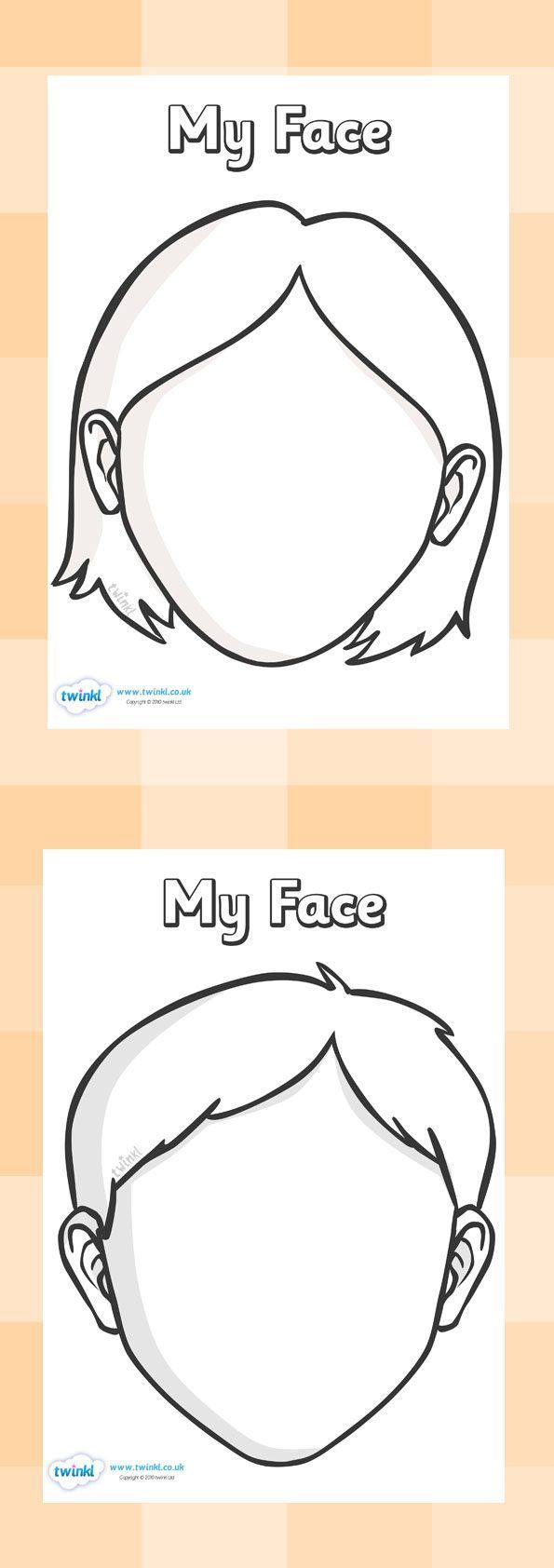 Blank Faces Templates. Free Printables - Children can draw things that 'represent' them in the faces.                                                                                                                                                                                 More