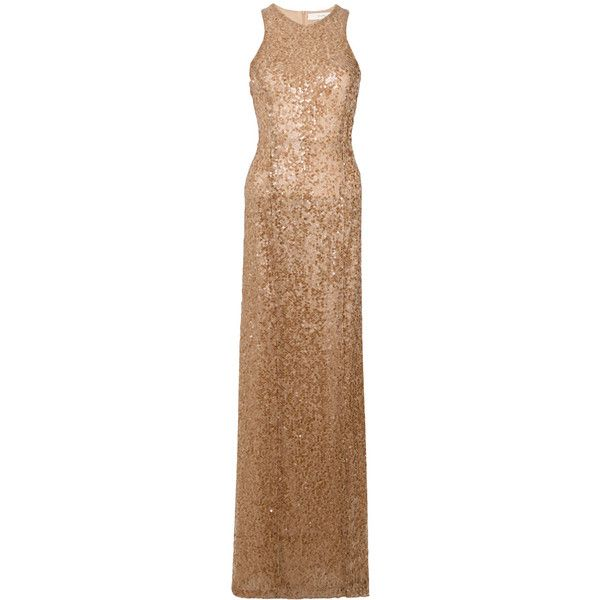Galvan sequin racer-back dress ($1,560) ❤ liked on Polyvore featuring dresses, brown, brown sequin dress, beige sequin dress, racerback cocktail dress, sequin cocktail dresses and beige dress
