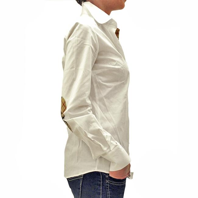 Camicia donna bianca con inserti a quadretti / White blouse with checks inserts