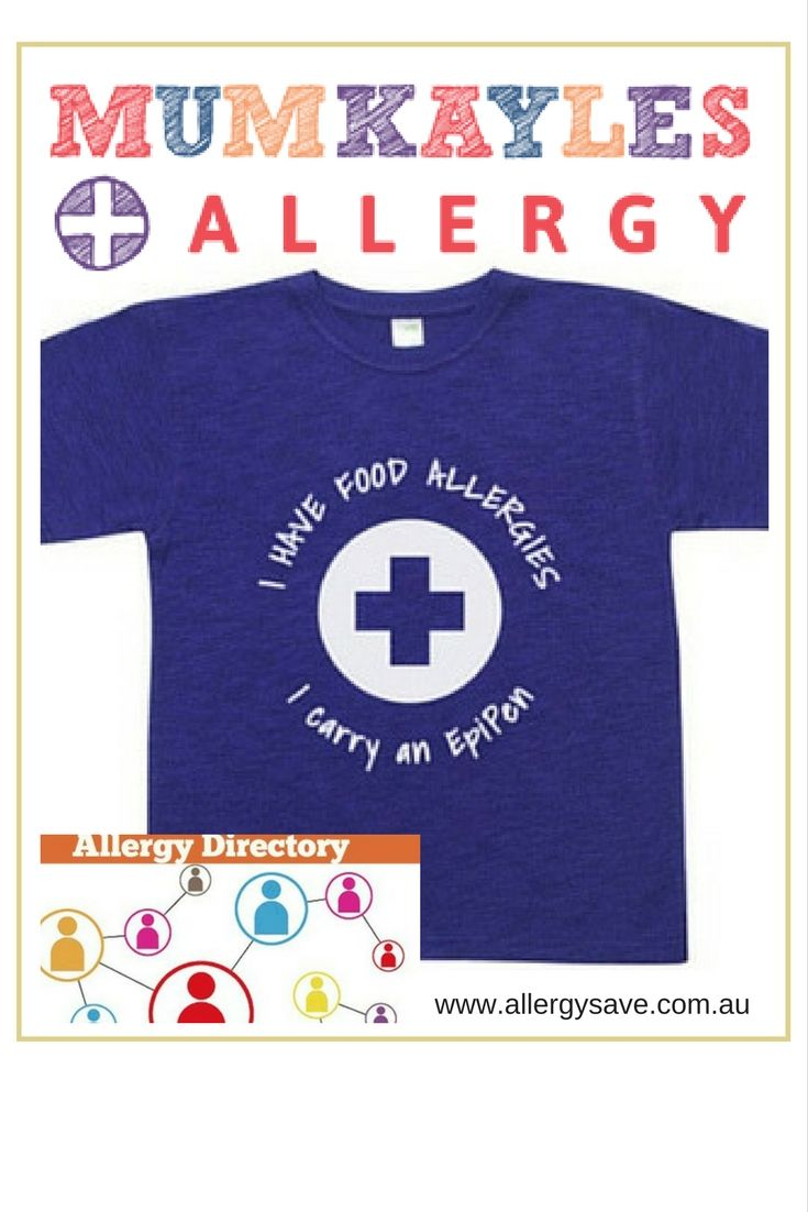 Kids Allergy Shirts, Personalised Clothing and Gifts.  Read more in the Allergy Directory #allergydirectory #allergysave #foodallergies #allergytshirt #allergylabels
