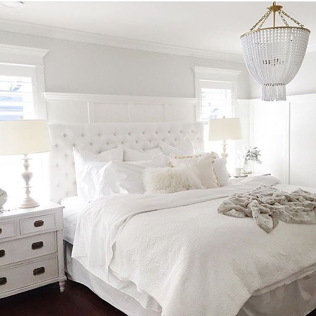 Attrayant Beautiful All White Bedroom Ideas, Luxurious All White Bed With Upholstered  Tufted Headboard, White Nightstands, White Lamps, And Creamy White Bedding.