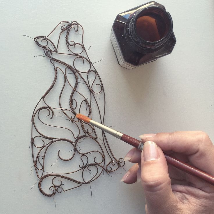 Wire art - coating finished piece to prevent further oxidation  Instagram @springstring