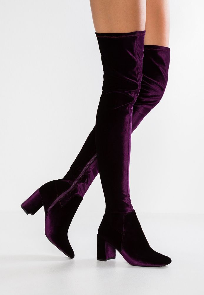 8d0f2ef3525 New~JEFFREY CAMPBELL Cienega Purple Stretch velvet Over Knee Boots sz 7.5   JeffreyCampbell  FashionKneeHigh