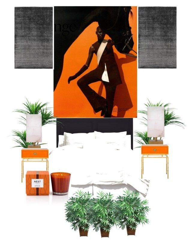 """Sans titre #2"" by morgane-von-platen on Polyvore featuring interior, interiors, interior design, maison, home decor, interior decorating, Jamie Young, Nest Fragrances, Nearly Natural et orangeandblack"