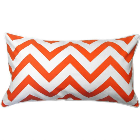 Gryffin Chevron Toss Cushion - Orange Cheerful throw pillow for the sectional