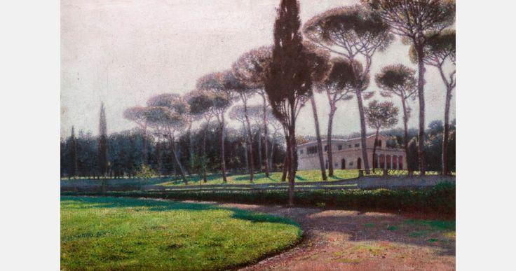 """Aleksander Gierymski, """"Pineta di Villa Borghese w Rzymie"""", 1899, olej, płótno, 35,5 x 50 cm, fot. Muzeum Narodowe w Krakowie"""