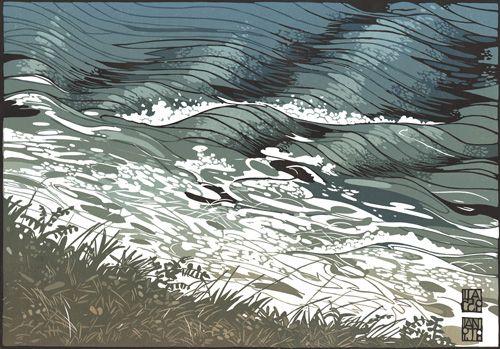 Ian Phillips, Linocut, Traditional, Stylised, Environment, Nature/Wildlife, Sea