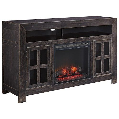 Ashley Signature Design Gavelston Distressed Black Large TV Stand with Electric Fireplace Unit