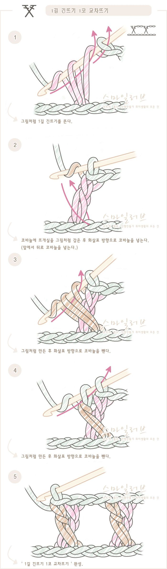 코바늘 강좌-[1길긴뜨기1코교차뜨기]코바늘 도안기호와 뜨는 방법. 뜨개질(손뜨개) 무료강좌