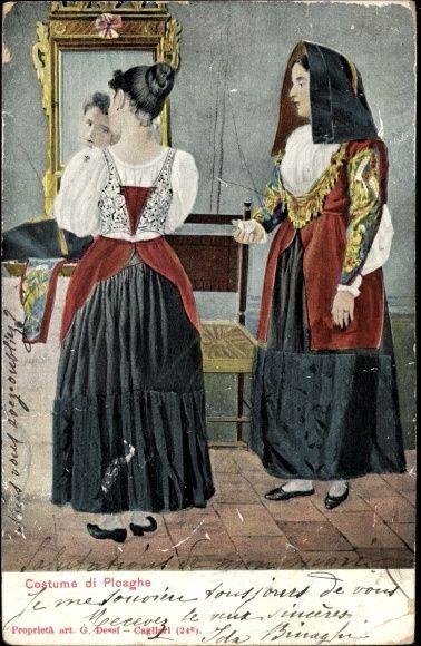 Künstler Ak Italien, Costume di Ploaghe, Italienerin am Spiegel, Tracht