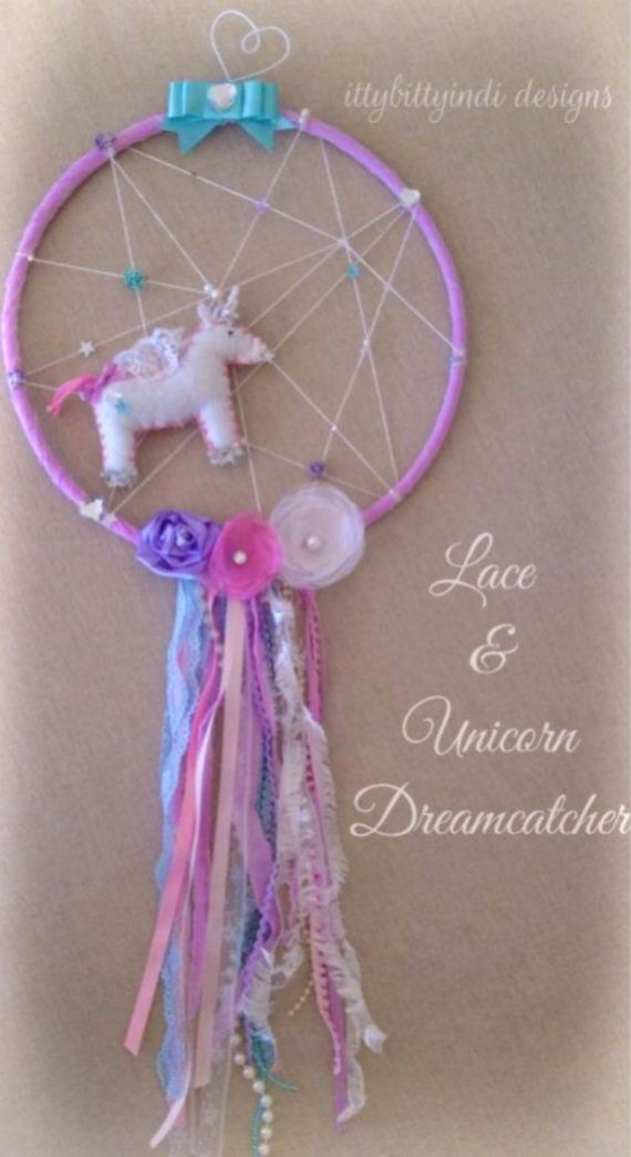 Lace & Unicorn dreamcatcher / mobile / wall art magic unicorn princess fairytale nursery bedroom keepsake handmade decor on Etsy, A$69,95 AUD
