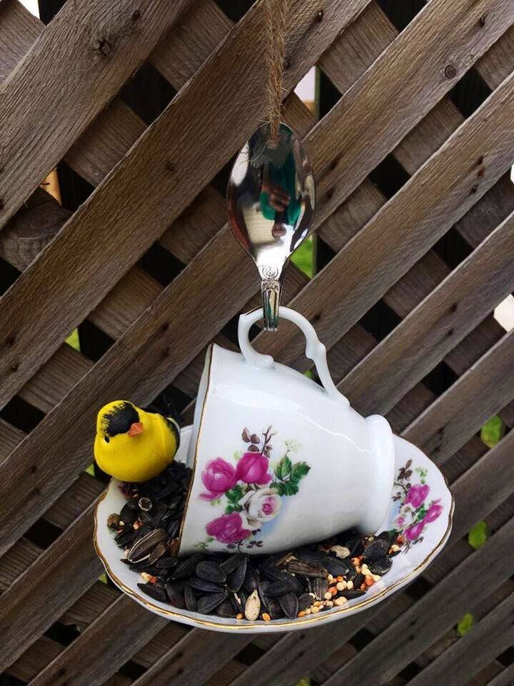 A personal favorite from my Etsy shop https://www.etsy.com/ca/listing/523425334/pink-rose-floral-teacup-bird-feeder-with