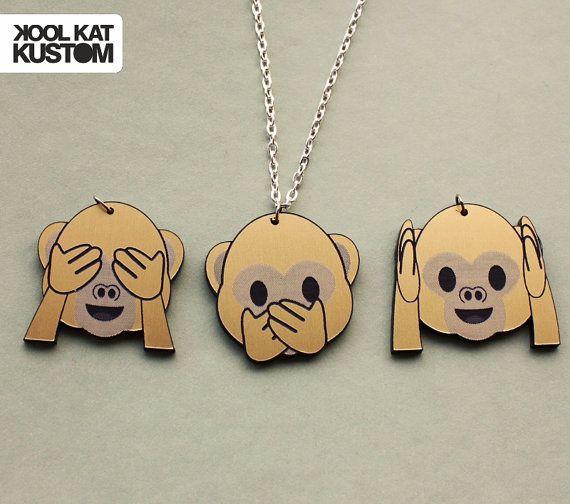Emoji monkey necklace by KoolKatKustom on Etsy