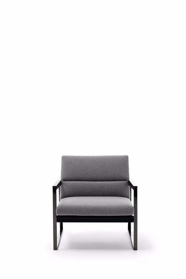 Armchair Daytona by DITRE ITALIA  Structure:  Structure in black painted metal (ME09) or  increase in! nish black chrome (ME05).  Armrest in solid eucalyptus wood ash (LE05).  springing:  Back panel in multi-layered wood or wood particles  E1 class.  Seat panels! Hard or cellulose wood fiber.  http://www.format-store.com/en/prod/armchairs-and-chaise-longue/armchair-daytona-by-ditre-italia.html