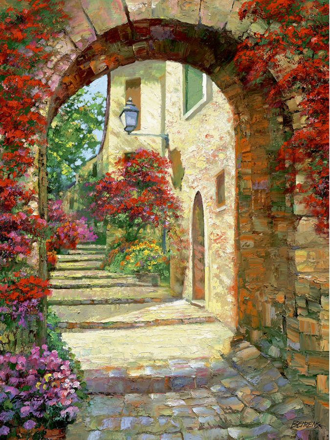Via St. Tropez by Howard Behrens: Hand Embellished Giclee on Canvas. Numbered & Hand signed.