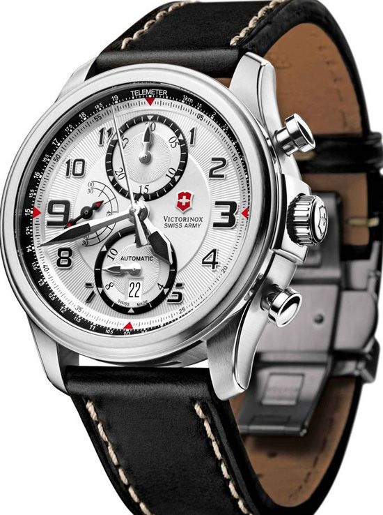 A fully mechanical chronograph with a smart and sporty appearance and pristine faux-military design.