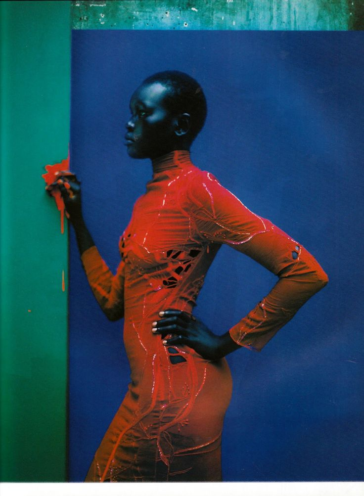 Champ de Couleur Vogue Paris, Photographer: Jean-Baptiste Mondino, Model: Alek Wek, Dress by Martine Sitbon