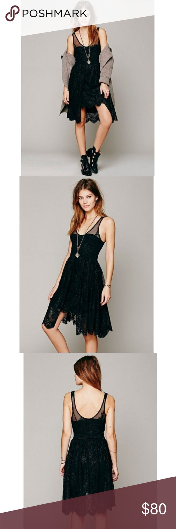 Free People Black Lace Foil Overlay Cocktail Dress Free People Black Lace Foil Overlay Cocktail Dress. Metallic gold threads add a touch of shimmer to this romantic lace dress. A ruched overlay accents the skirt and the raw hem falls in delicate scallops. Sheer straps and scoop neck with hidden zipper, lined. Perfect go to little black dress for any occasion! Brand new with tags, sold out online. Price is firm. Free People Dresses