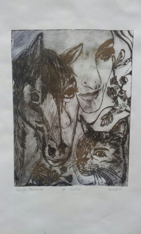 Exploring self/ animal hybrid Drypoint etching