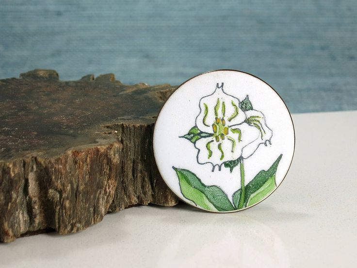de Passillé-Sylvestre Wildflower Brooch - 1960s Enamel on Copper Wild Flower Pin - Signed Early de Passillé Sylvestre Jewelry - Trillium Pin by EightMileVintage on Etsy