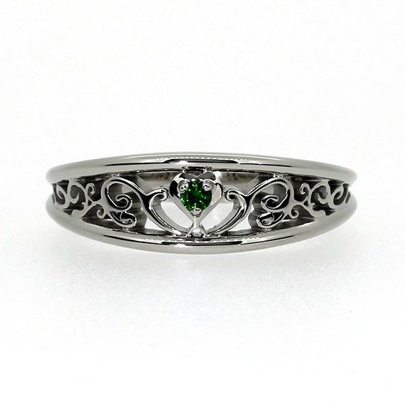 Grüner filigranen Diamantring, Herz filigran Ring, Weissgold, Rotgold, grüner Engagement, einzigartigen Diamant-Ring, grüne Raute Engagement
