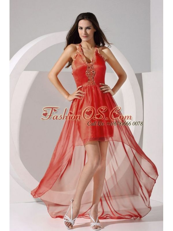 Halter Embroidery Taffeta and Organza High-low 2013 Prom Dress  http://www.fashionos.com  prom dress on sale | prom dress with appliques | floor length prom gown | 2013 new arrival prom dress | 2013 hot seller evening dresses | destination prom dress | prom girl prom dresses | mini cocktail dress inspired by serena in gossip girl | halter prom dress | nord strom evening dresses |  The bodice accented by the embroidery and the halter neckline flatters most figures