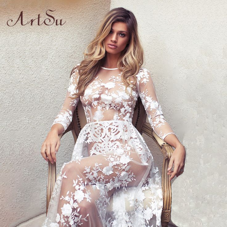 ArtSu Women Sexy Fashion See Through Lace Long Dress Wedding Bodycon Summer Evening Party Maxi Dresses Vestidos ASDR20030
