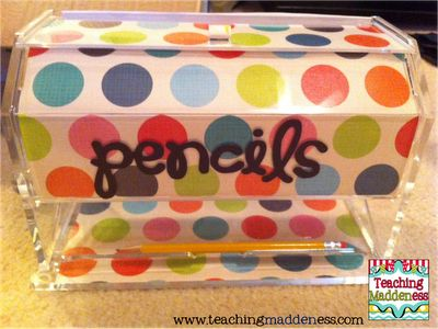 Acrylic Pencil Dispense....embellish with scrapbook paper, Modge-podge, and some sticky letters. :)