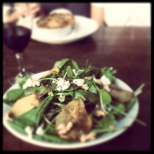 , Gorgonzola, pear, walnut salad with red wine. #food #wine #salad ...