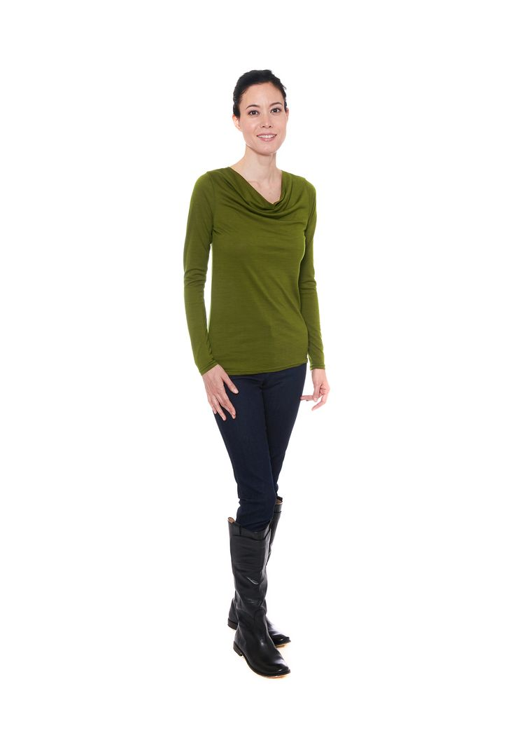 Green merino wool jersey cowl top with long sleeves by Jennifer Fukushima.  Boots by Frye.