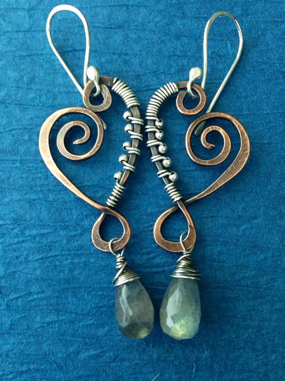Hammer My Heart: Mixed metal Copper and Sterling Swirly dangles with labradorite gemstones