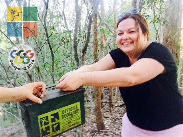 chasingadventure and TheHinds_XO wrestled over this lovely ammo can during #geosportz2016. chasingadventure came out on top! #geocaching #geocachingadventures #geocachingaustralia #GCA #freeandopencaching #geocachingphotos #QLD #queensland #seeaustralia #outdoors #ilovegeocaching #australia #wrestling #thegap #geocachinggames #ammocan #outdoorfun