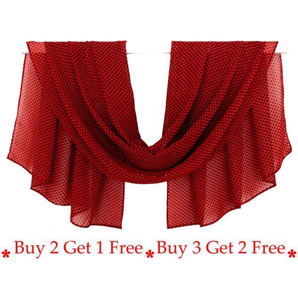 Donker rode sjaal, zwarte stippen, chiffon sjaal, Print Sjaal, zijden... (1.350 ISK) ❤ liked on Polyvore featuring accessories
