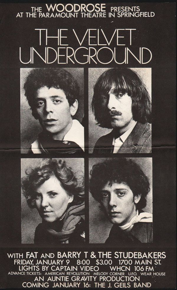 The Velvet Underground, Fat, Barry T & the Studebakers : Paramount Theatre, Springfield