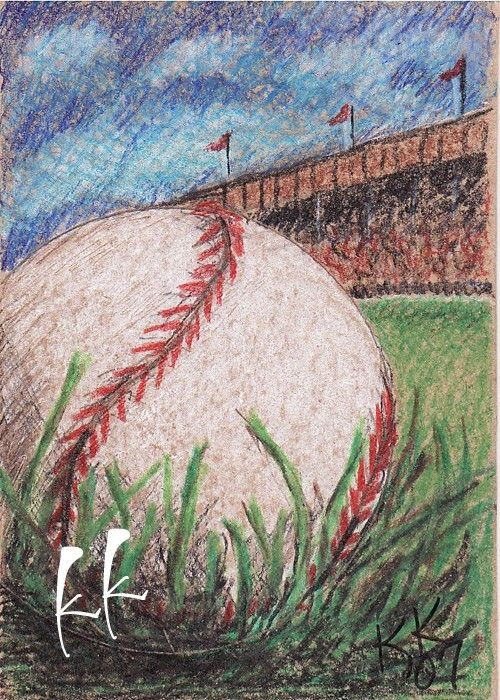 dibujo a lápiz de beisbol | ACEO impresión béisbol dibujo a lápiz de color por OneKeeneKat