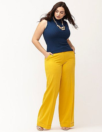 Refresh your wear-to-work wardrobe with a modern wide leg pant in rich Tailored Stretch construction for a gorgeous drape. Fit to flatter the moderately-curvy figure in our Lena silhouette, this versatile pair is nipped in at the waist (good bye gapping!) with an easy fit through the thigh and cuffed wide legs for a polished finish. Four pockets.  Bar & slide and zip fly closure, with belt loops. lanebryant.com