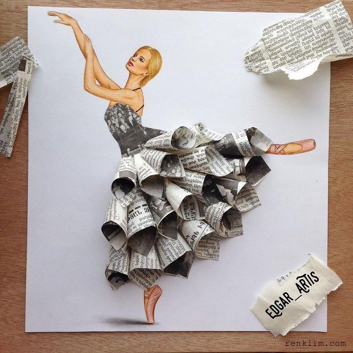 illüstratör Edgar Artis'in karakalem çizimi ve evde bulduğu gündelik nesnelerle yaptığı muhteşem elbise tasarımlarını çok beğeneceksiniz.