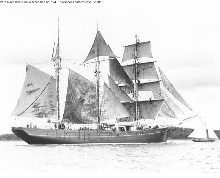 "Barquentine ""Cap Pilar"" sailing in the path of the setting"