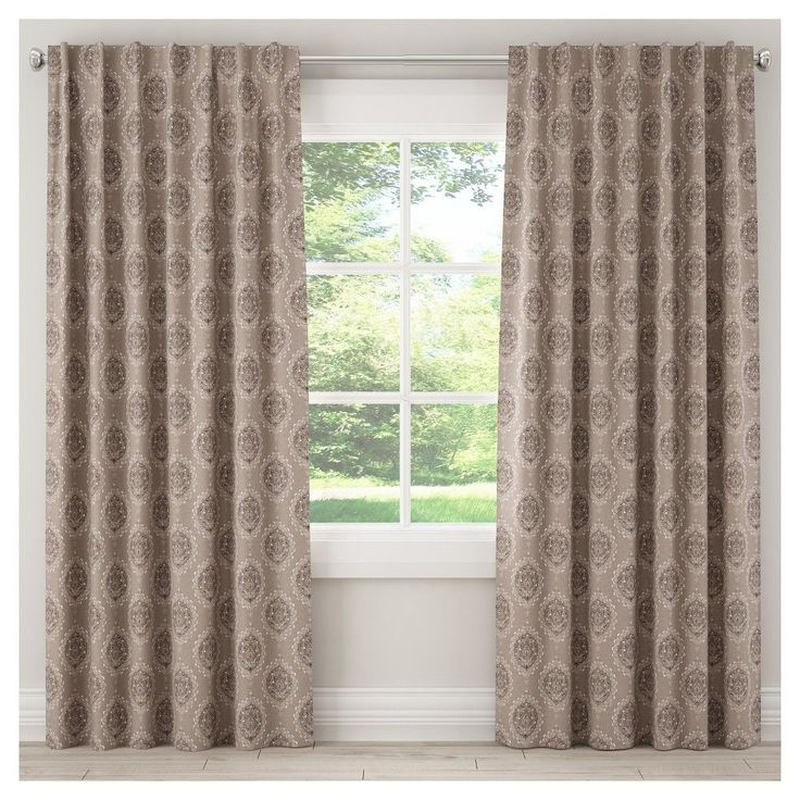 """Unlined Damask Curtain Panel Taupe Brown (50""""x96"""")"""