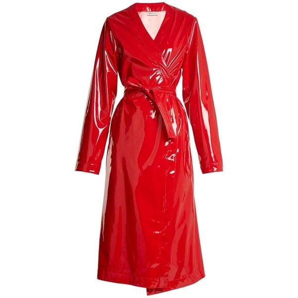 Attico Marla belted coated trench coat ($1,410) ❤ liked on Polyvore featuring outerwear, coats, jackets, trench coat, attico, red, wrap coats, trench coats, vinyl coat and vinyl trench coat